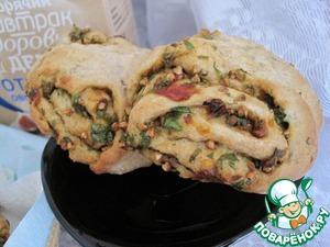 Рецепт Отрубной пряный хлеб с вялеными томатами и зеленью
