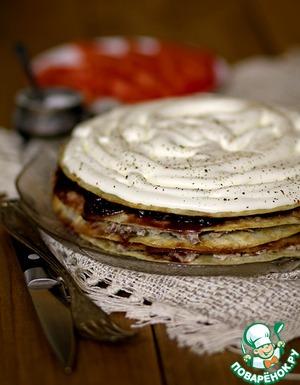Рецепт Закусочный торт с луковым мармеладом и мясом