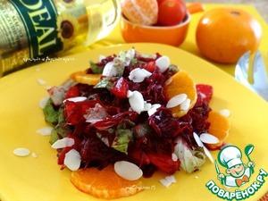Рецепт Свекольный салат с мандаринами и миндалем