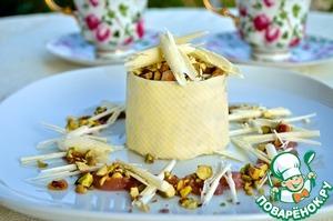 Рецепт Фисташковое парфе с белым шоколадом и грушевым соусом