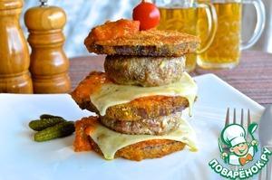 Рецепт Двойной грибной чизбургер в баклажане