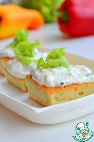Рецепт Закусочный торт из кабачков с кремом из козьего сыра