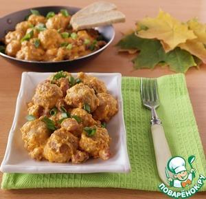 Рецепт Фрикадельки с фасолью в сырно-овощном соусе
