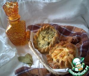 Рецепт Гречнево-пшеничная выпечка с отрубямии и разными творожными начинками