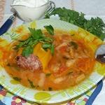Суп с фаршированным перцем
