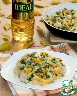 Рецепт Тушеная капуста с тыквой, яблоком и курицей