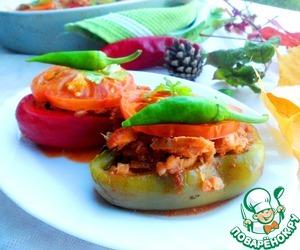 Рецепт Перец фаршированный жареной курочкой с гречкой и черносливом