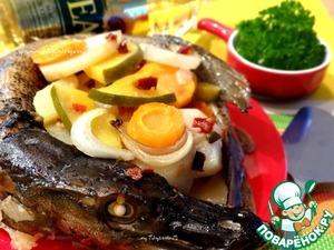 Рецепт Осенняя щука, запеченная с овощами и манго