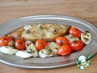 Палтус, запечённый с пореем и помидорами черри ингредиенты