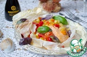 Рецепт Семга, запеченная в пергаменте с овощами