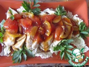 Рецепт Отварная куриная грудка под соево-лимонным соусом