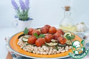 Рецепт Тёплый салат из фасоли с овощами