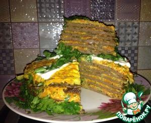 Печеночный торт из куриной печени простой рецепт приготовления с фотографиями пошагово