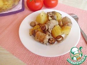 Рецепт Картошка с колбасками и чесноком
