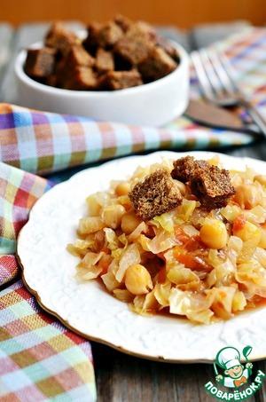 Рецепт Жареная капуста с нутом и чесночными сухариками