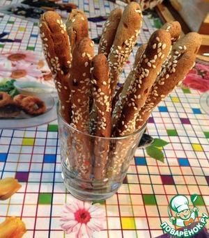 """Рецепт Хлебные палочки """"Гриссини"""" из ржаной муки"""