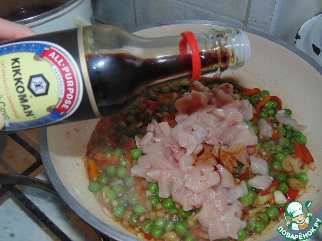 Как приготовить рис с курицей с соевым соусом