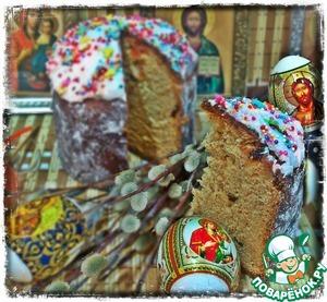 Рецепт Пасхальный кулич с творогом и изюмом