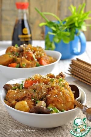 Рецепт Курица с овощами, вешенками и фунчозой по-корейcки