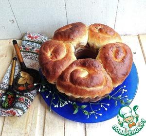 Рецепт Праздничный Пасхальный пирог с шоколадным творогом