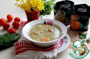 Рецепт Суп из кролика с зеленой и красной чечевицей