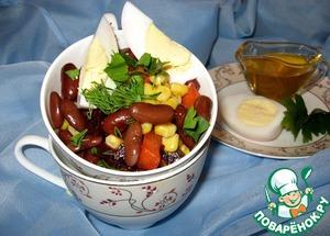 Рецепт Салат с фасолью и рыжиковым маслом