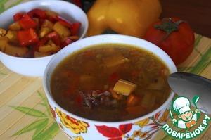 Суп с чечевицей и болгарским перцем