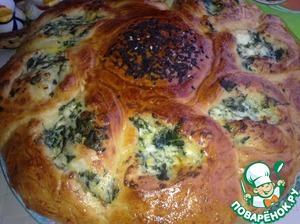 Рецепт Пирог со шпинатом, творогом и брынзой