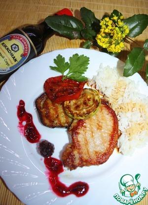 Рецепт Свиной стейк с овощами-гриль
