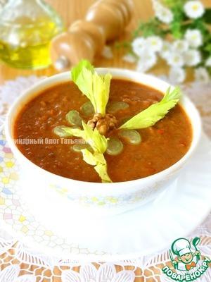 Рецепт Густой суп с чечевицей и грецким орехом