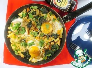 Рецепт Картофельная тортилья с глазуньей и курицей