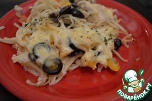 Рецепт Запеканка из лапши с маслинами и грибами