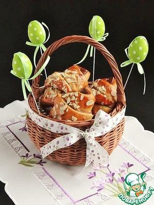 Рецепт Двухцветные рогалики с кокосово-творожной начинкой
