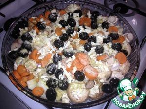 Рецепт Рыбка с грибами и овощами в духовке