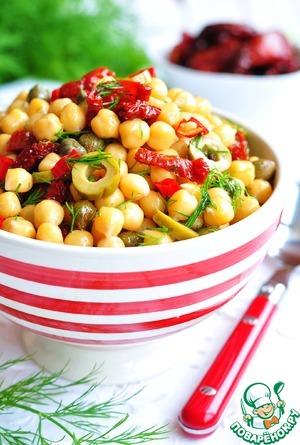 Рецепт Салат из нута, вяленых томатов, оливок с укропом и оливковым маслом
