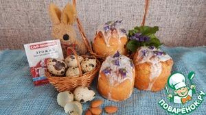 Рецепт Пасхальный кулич с миндалем и цукатами, украшенный захаренными фиалками