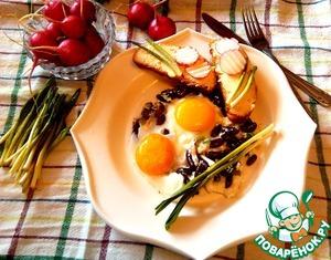 Рецепт Яичница с фасолью и колбой (черемшой)