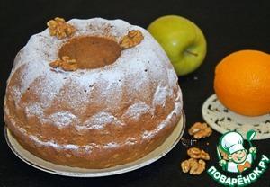 Рецепт Греческий кекс с яблоком, орехами и апельсиновым соком