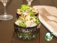 Зеленый салат с горбушей и редисом ингредиенты