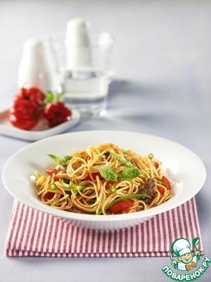Рецепт Капеллини с соусом аррабиата и говяжьей вырезкой