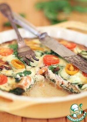 Рецепт Киш с белой рыбой, креветками и шпинатом