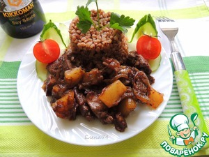 Рецепт Куриная печень с ананасами
