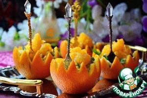 Рецепт Пикантный салат в апельсиновых корзиночках