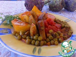 Рецепт Артишоки с картофелем и зеленым горошком