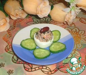 Рецепт Яйца фаршированные фасолью и морковью