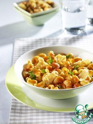 Рецепт Пипе ригате с чипсами из пармезана и соусом базилико