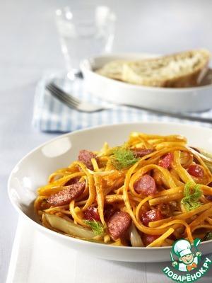 Рецепт Баветте с салями и луком-пореем