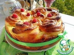 Рецепт Творожная ватрушка с малиновыми розами