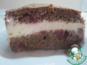Рецепт Шоколадный кекс с вишней и творожным кремом