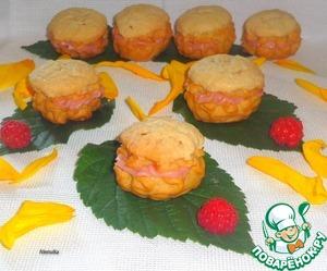 Рецепт Пирожные с кракелином и малиновым кремом